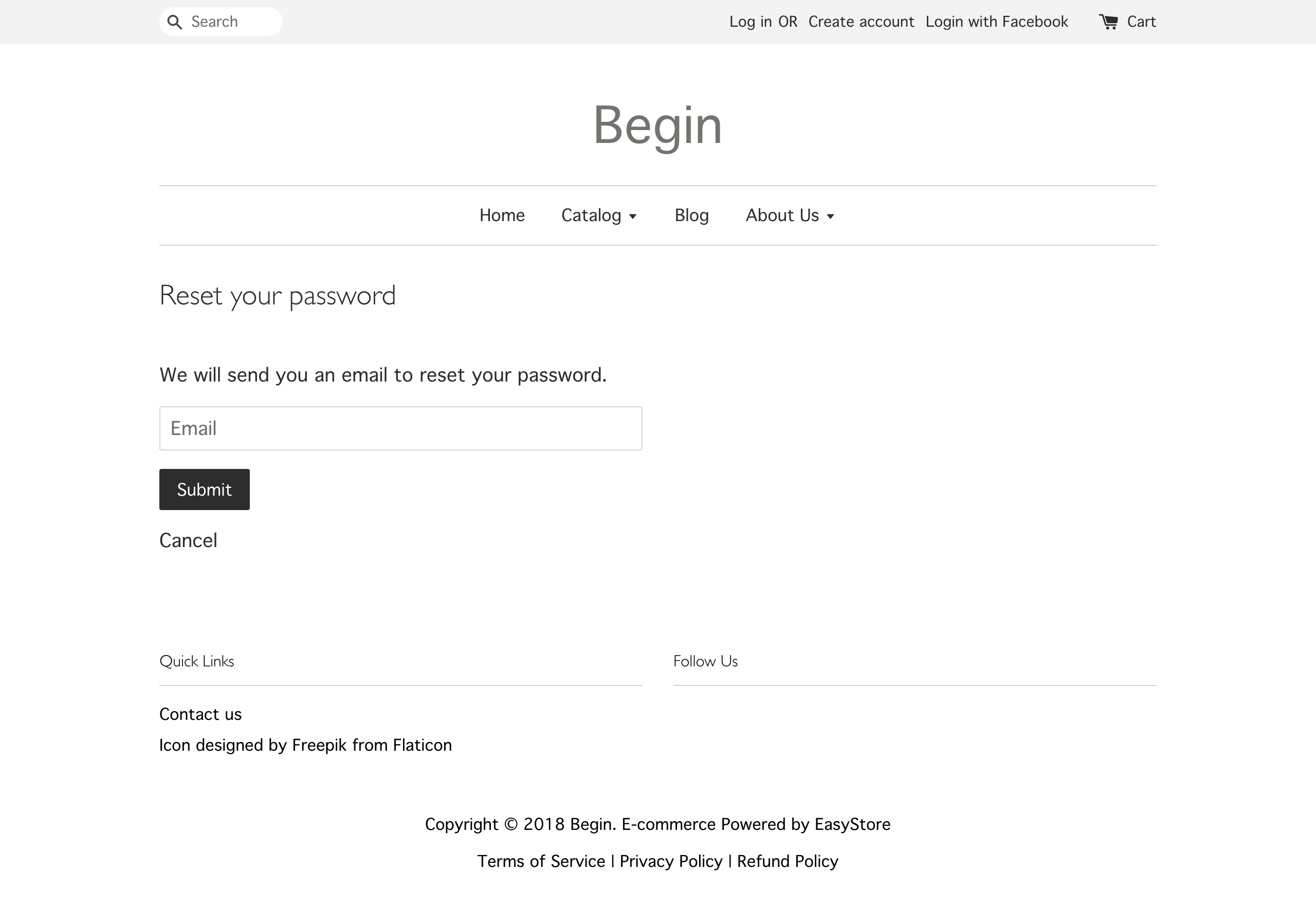 customer reset password